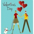 Couple and dog love Valentines day greeting card — Stock Vector