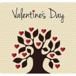 Fall in love Valentines day tree — 图库矢量图片