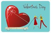 最大の愛。幸せなバレンタインの日グリーティング カード — ストックベクタ