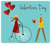 Coppia con bici retrò cartolina di san valentino — Vettoriale Stock