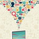 Постер, плакат: Social media computer connection