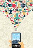 Social media cell phone concept — Stock Vector