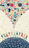 концепция социальных медиа — Cтоковый вектор