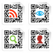 Stock Vector: Social icons set with QR code sign label