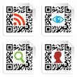 Social icons set with QR code sign label — Stock Vector