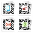Social media icons set with QR code sign label. — Stock Vector