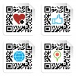 Stock Vector: Set of QR codes with social media icons