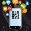 Go social via Smartphone: QR code application on black — Stock Vector