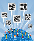 Global social media World with QR codes signs — Stock Vector