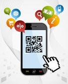 Smart Phone: QR code application vector illustration — Stock Vector