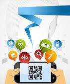 Smart Phone: QR code application background — Stock Vector