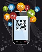 Go social via Smartphone: QR code application on black — Stock Vector