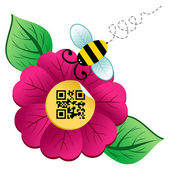 Spring time flower and Bee with qr code — Stock Vector