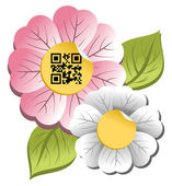 Spring time flower with qr code label — Stock Vector