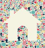 Sociální média dům textura — Stock vektor