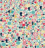 Mediów społecznych sieci ikony wzór — Wektor stockowy