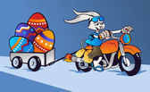 Crazy Easter Bunny cartoon in motorbike — Stock Vector