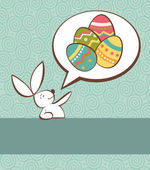 Social Easter bunny with painted egg — Stock Vector
