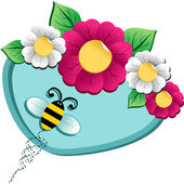 Spring time flower and Bee — Stock Vector