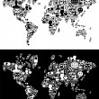 Social media network icons in World map figure — Stock Vector