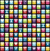 Mobiele telefoon app pictogrammen patroon achtergrond — Stockvector