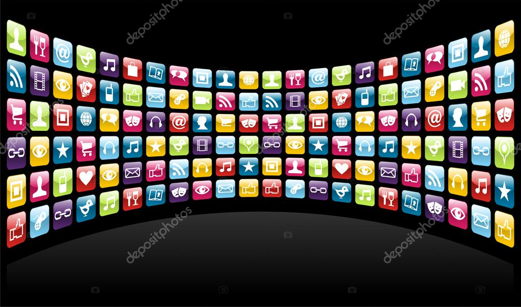 Smartphone cloud app icon set background. Vector file layered for easy manipulation and customisation. — Stock Vector #9773912