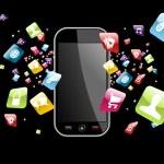 Global smartphone apps icons splash — Stock Vector