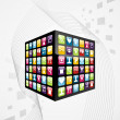 Global mobile phone apps icons cube — Stock Vector