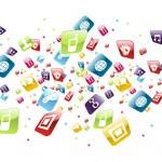 Global mobile phone apps icons splash — Stock Vector