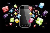 éclaboussure de global smartphone apps icônes — Vecteur