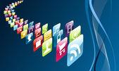 ícones de aplicativos globais do telefone móvel — Vetorial Stock