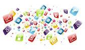 Wereldwijde mobiele telefoon apps pictogrammen splash — Stockvector