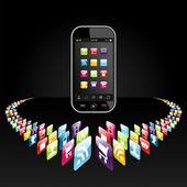Smartphone apps pictogrammen presentatie — Stockvector