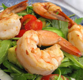 Prawns salad with lettuce, tomato, avocado and cucumber — Стоковое фото