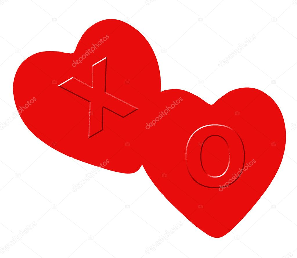 Two red hearts with an x(kiss) and o(hug)  Stock Photo #8351195