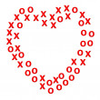 Stock Photo: Heart border created using x and o