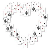 Heart border created playing cards — Stock Photo