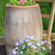 Flower barrel — Stock Photo