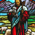 Jesus stained glass window — Stock Photo