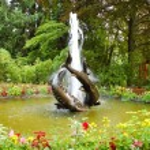 Fish sculpture fountain — Stock Photo