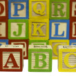 Wood alphabet blocks - Stock Photo