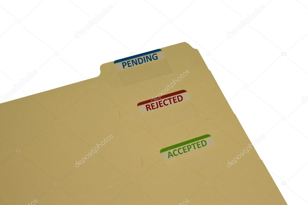 Three manila folders with stickers saying approved rejected and pending — Stock Photo #9234103