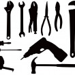 Hand tool silhouettes — Stock Photo