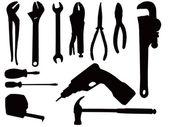 Hand tool silhouettes — Foto de Stock