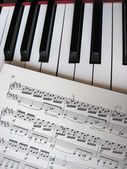Piano keys with notes, musical background. — Stock Photo