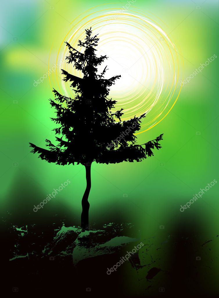 Tree silhouette on an abstract background — Stock Vector #10457336