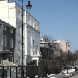 Winter, sunny day on street in Warsaw — Photo