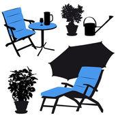 Garden furniture, vector silhouettes — Stock Vector