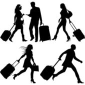 In a hurry - vector silhouettes. — Stock Vector
