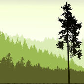 Silhouette d'arbre sur fond abstrait — Vecteur